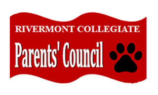 parents council logo, red background with black paw and Parents' Council