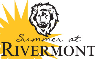 Summer at Rivermont Logo with sun and lion.
