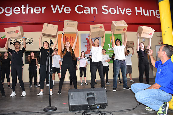 students performing their skit at the hunger drive