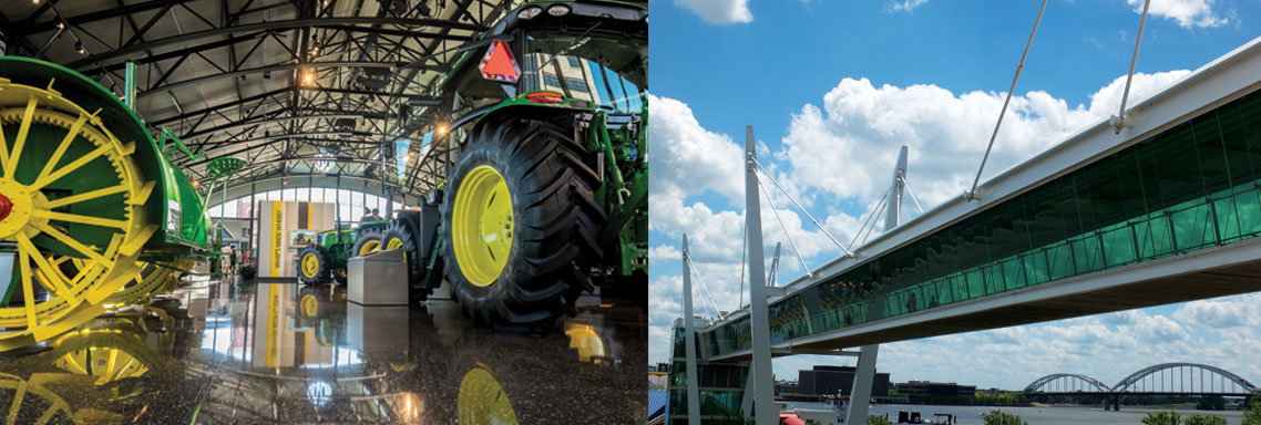 John Deere Pavilion in Moline, Illinois and the Skybridge in Davenport, Iowa