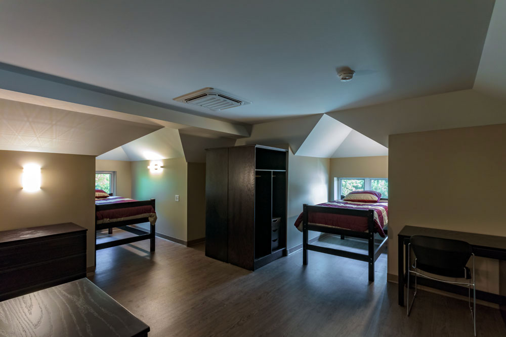 Dorm room in the Carriage House Residence Hall