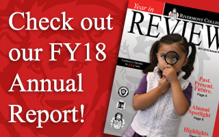 FY18 Annual Report Cover with girl holding maganifying glass