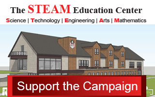 STEAM building rendering with STEAM Education Center (Sicence, Technology, Engineering, Arts, and Mathematics) written across the top and support the campaign wirtten acorss the bottom